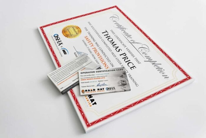 OSHA compliance certificate and wallet card