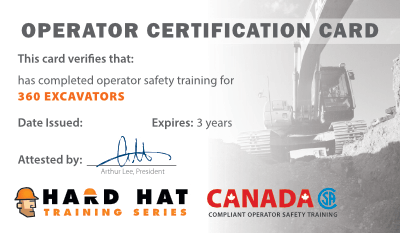 Official Operator Wallet Card Canada, 360 Excavator