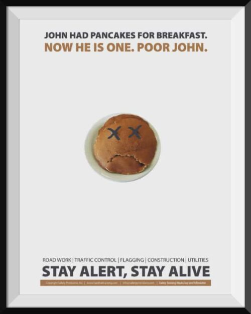 road work stay alert stay alive safety poster